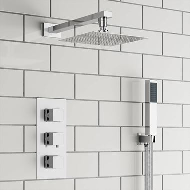 Margot Concealed Shower Valve, 400mm Head & Handset - 180mm Ceiling Arm